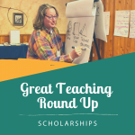 Great Teaching Round Up participant drawing on a flip chart