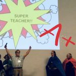 Super teacher on stage