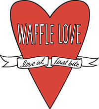 Waffle Love Food Truck Logo: Waffle Love - Love at First Bite