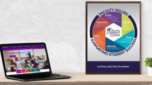 Faculty values supporting student success sign and laptop on desk