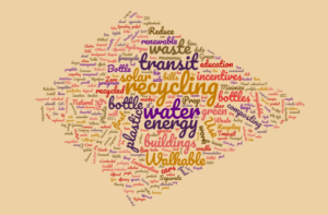 A Word Cloud developed by Keen's ENVR-1301 students